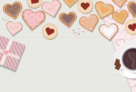 Decorated heart shaped cookies with glaze on wooden background, top view. Valentines day
