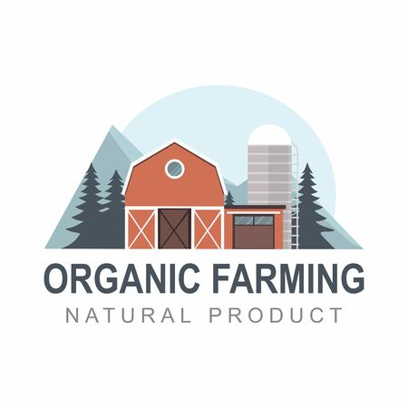 Organic Farming label. Landscape, building with mountains on white. Vector template. Çizim
