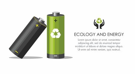 Battery with recycle symbol - renewable energy concept on white.  Battery recycling concept.  Vector Illustration