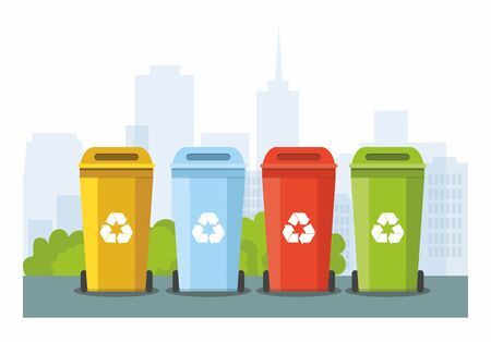 Rubbish bins for recycling different types of waste on city background. Sort plastic, organic, e-waste, glass, paper. Vector Illustration 向量圖像