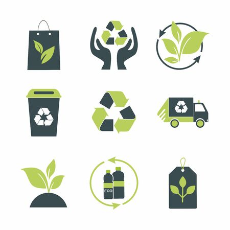 Set of recycling signs. Collection of green eco symbols. Vector