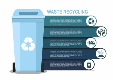 Rubbish bin for recycling different types of waste. Sort plastic, organic, e-waste, glass, paper. Infographic Çizim