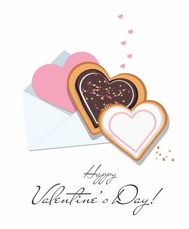 Valentine card, envelope and heart shaped cookies with glaze.  Top view. Valentines day. Vector