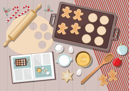 Bakery background with ingredients for cooking christmas baking. Sugar, eggs and spices on kitchen table,top view. Vector Ilustration