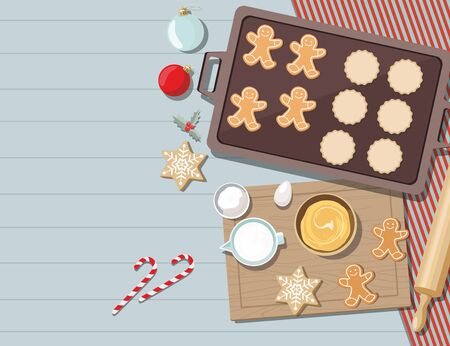 Cookies with ingredients for cooking christmas baking. Sugar, eggs and spices on kitchen table,top view. Vector Ilustration