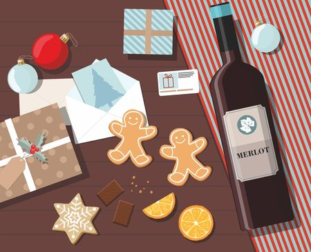 Holiday christmas background with gifts, cookies, greeting card and christmas ball. Top view. Vector Ilustration