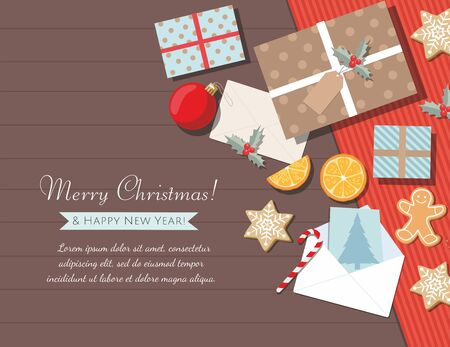 New year and Christmas background with gifts, cookies, greeting card and christmas balls.  Top view. Çizim