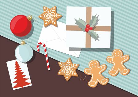 Holiday christmas background with gifts, cookies, greeting card and christmas ball. Top view. Çizim