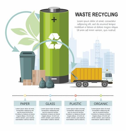 Battery and waste recycling concept on city background and garbage truck. Vector Infographic Çizim