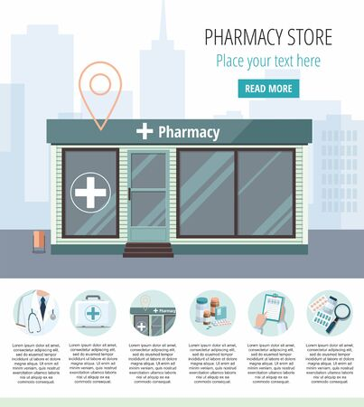 Facade of pharmacy store isolated on city background. Drugstore house. Vector infographic Çizim