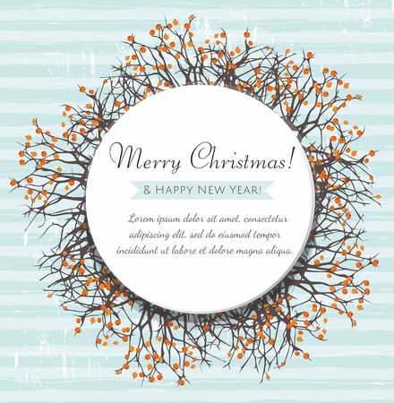 Christmas greeting card. Round frame with branches and berries. Merry Xmas and Happy New Year. Vector