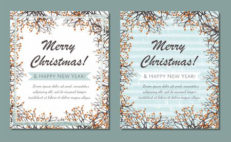 Christmas greeting cards. Square frame with branches and berries. Merry Xmas and Happy New Year. Vector Çizim