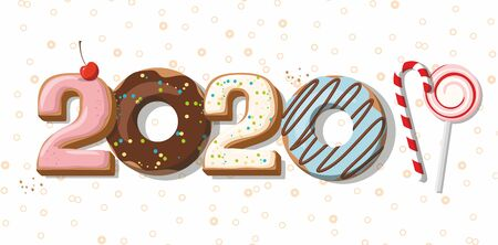 Numbers 2020 from the donuts, cookies and lollipop. Sweet New year and Christmas. Cartoon vector illustration. Çizim