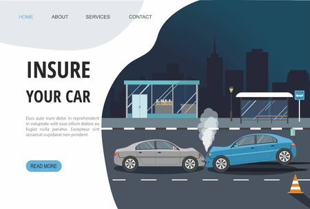 Accident with two cars isolated on city background. Landing page template. Vector Illustration Çizim