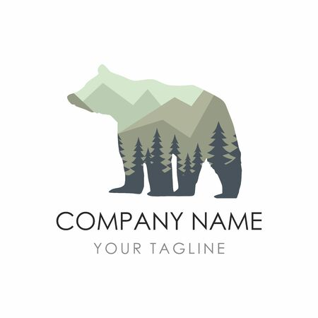 Bear label Template consisting of forest background. Vector Illustration