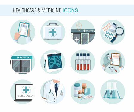 Set of Health Medicine Icons. Medical tools and health care equipment. Vector Illustration Çizim