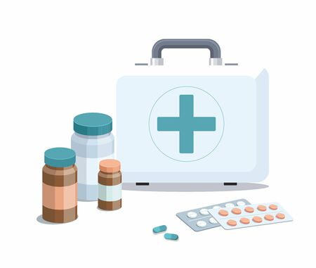 Medicine pills and First Aid Kit on white. Pharmacy.  Vector Illustration