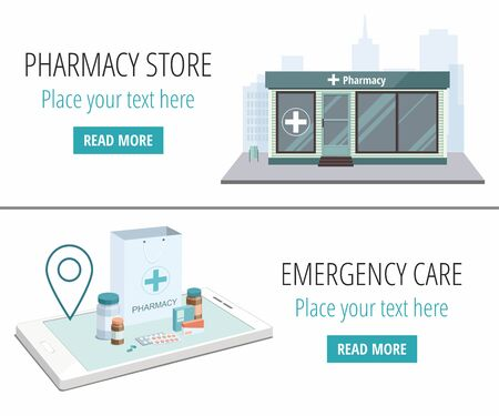 Vector web banners. Facade of pharmacy store and  paper bag with pills isolated on white background.