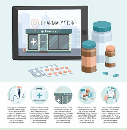 Medicine pills. Facade of pharmacy store isolated on digital tablet. Set medicine icon. Vector Infographic