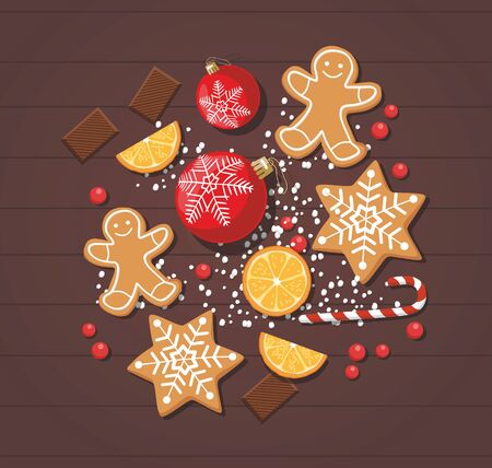 New year and Christmas background with cookies, sweet food and christmas balls. Top view.