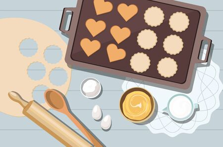 Baking utensils and cooking ingredients for cookies and pastry. Top view. Vector