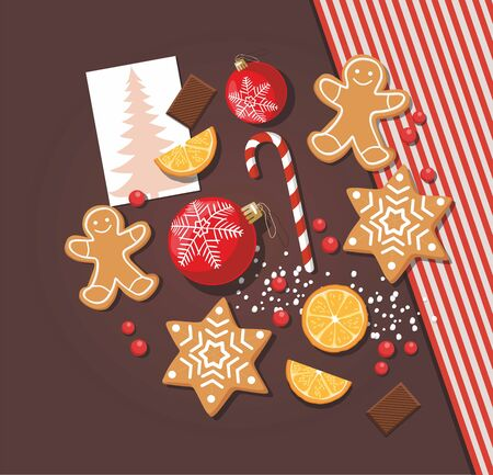 Christmas or New Year background. Cookies, sweet food and red christmas balls wiht postcard on table. Vector template