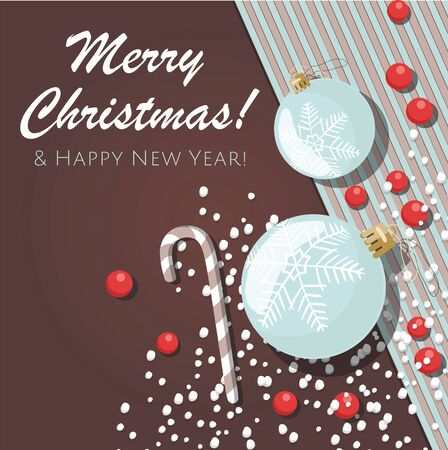 New year and Christmas background with blue christmas balls. Vector template