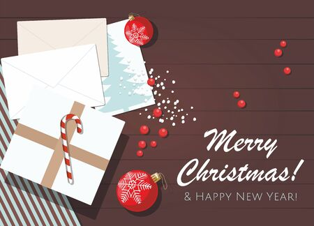 Christmas or New Year background. Present box, red christmas balls, wrapped paper, envelope wiht postcard on table. Vector Çizim