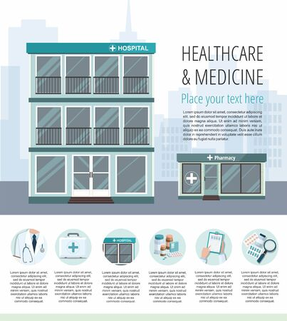 Facade of hospital and pharmacy store on city background. Vector Medicine infographic Çizim