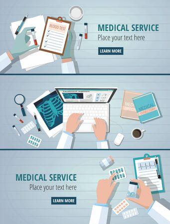 Doctors table workplaces. Medicine concept set web banners. Vector illustration