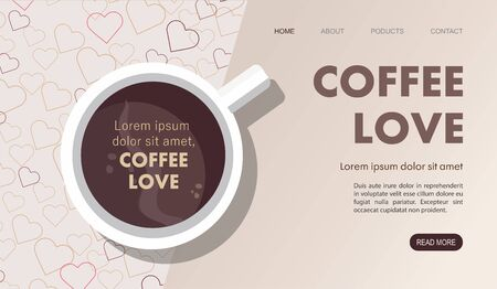 Landing page. Mug with coffee. Top view. Vector Illustration