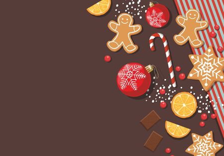 New year and Christmas background with cookies, sweet food and christmas balls. Top view. Vector