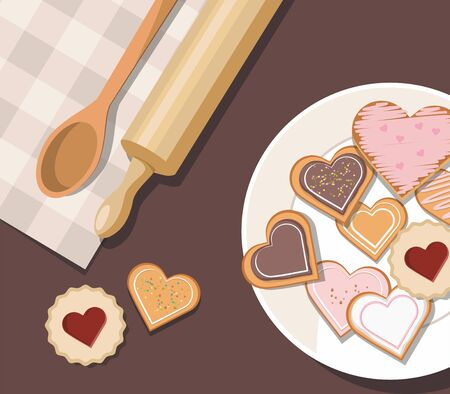Decorated heart shaped cookies with glaze, top view. Valentines day. Vector