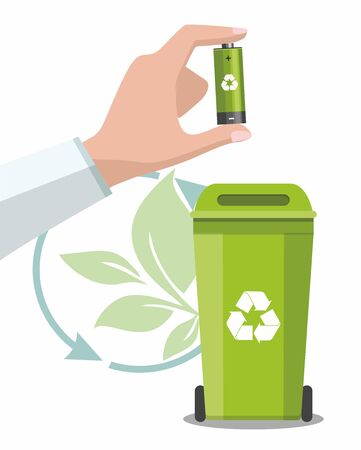 Battery and waste recycling concept. Man is holding a recyclable battery. Vector Çizim