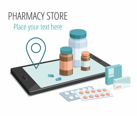Medical preparation and pills on smartphone. Isometric Illustration on white. 3D Pharmacy.