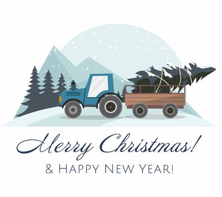 New Year and Merry Christmas card. Blue Christmas tractor with a trailer and with fir tree. Winter landscape.