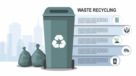Rubbish bin for recycling different types of waste on city background. Sort plastic, organic, e-waste, glass, paper. Vector Infographic Çizim