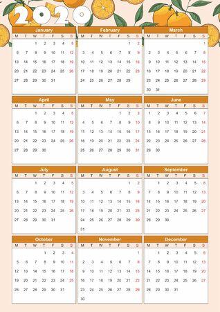 Calendar year 2020 with Hand drawn oranges slices pattern. Vector Çizim