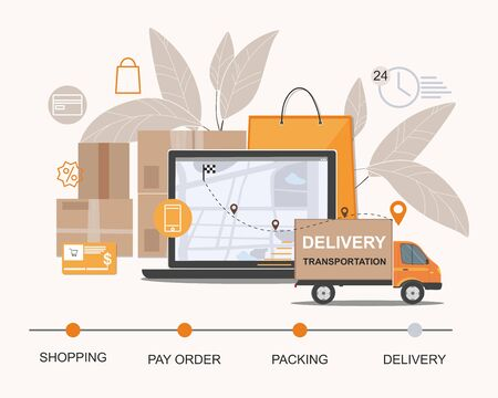Delivery service. Business logistics, smart logistics technologies, commercial delivery service concept. Vector Infographic