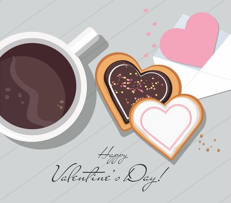 Valentine card, mug with coffee and heart shaped cookies with glaze. Top view. Valentines day. Vector