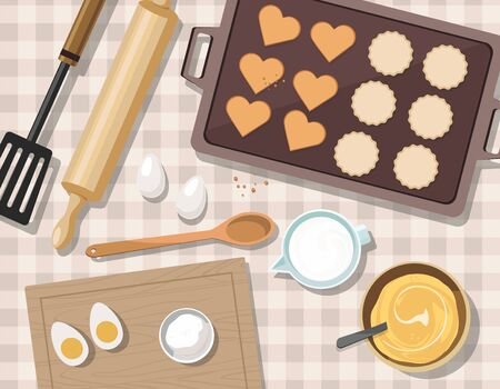 Baking utensils and cooking ingredients for cookies and pastry. Top view. Sugar, eggs and spices. Valentines day.