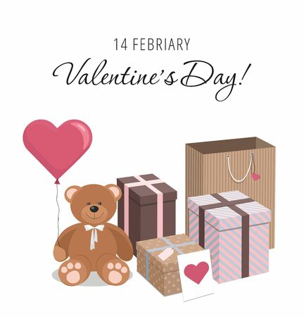 Valentines Day. Teddy bear, balloon and gifts isolated on white background. Isometric  Vector Illustration