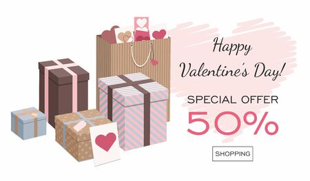 Happy Valentines Day banner, poster or flyer. Gifts isolated on white background. Isometric Vector Illustration Çizim