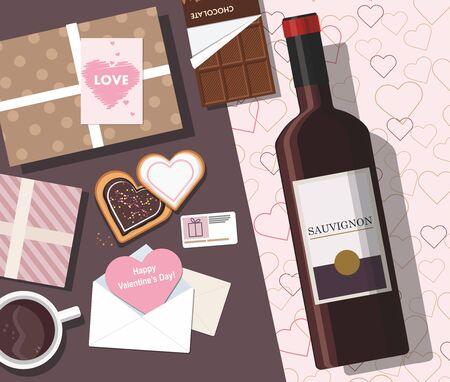 Valentines day composition. Valentine card, mug with coffee, cookies, gift box and wine. Top view. Vector Çizim