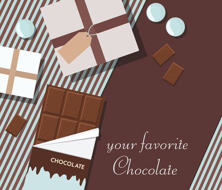 Composition with chocolate and gifts. Top view.  Vector Illustration. Space for text.