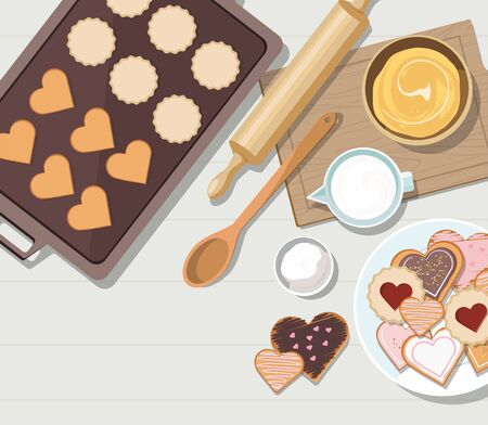 Baking utensils and cooking ingredients for cookies and pastry. Top view. Valentines day