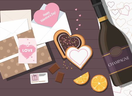 Valentines day composition. Valentine card, cookies, gift box and bottle of champagne. Top view. Vector Çizim