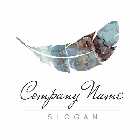 Colorful Feather logo template on white. Vector icon Çizim