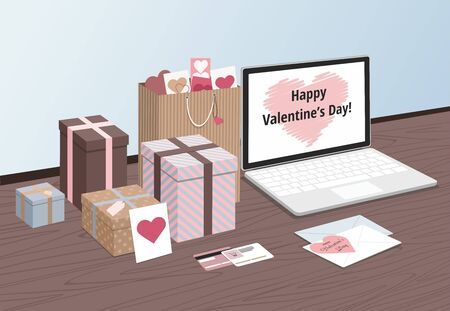 Happy Valentine's Day  Gifts with laptop on the table. Vector isometric Illustration