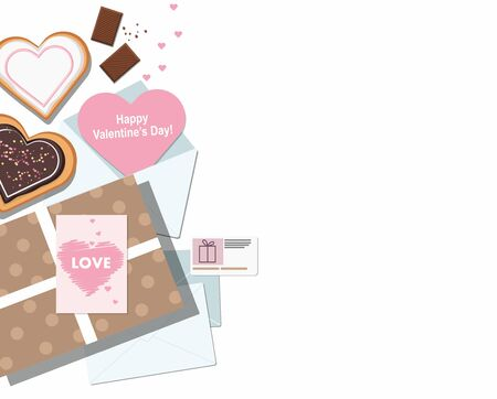 Valentine card, cookies, gift box and chocolate on white.